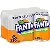 Fanta Naranja Zero Azúcares - Refresco con 7% de zumo de naranja Zero Azúcares añadidos- Pack 6 latas 330 ml