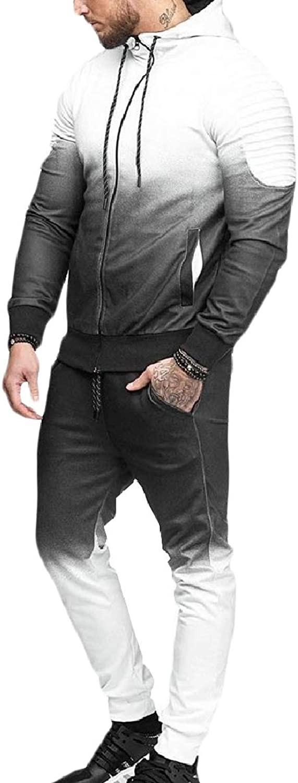 XINHEO Men's Slim Fit Tapered Hoodie Gradients Zip Tracksuit Outfit