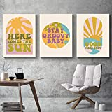 Good Vibes Only Retro Poster Here Comes The Sun Impresiones de Arte de Pared Vintage Stay Groovy Baby Canvas Pintura Modern Funky Wall Cuadros 40x60cmx3 Sin Marco