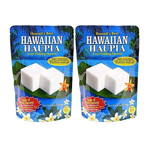 Hawaii's Best Hawaiian Haupia 2 Pack - Hawaii's Best Luau Pudding Squares 8 oz (16 oz total) - Luau Pudding Squares for Haupia Pudding, Haupia Pies and Cakes