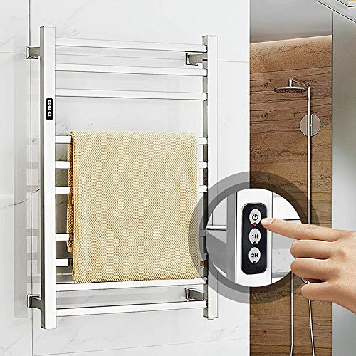 LYMHGHJ Calentador de Toallas eléctrico con Temporizador Incorporado, toallero de Pared para baño, cableado y Opciones de Enchufe Acero Inoxidable, cableado