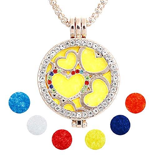 Vrouwelijke ketting - vrouw - hartje - diffuser - opening - antares - aromatherapie - aroma - parfum - goud - etherische olie - origineel cadeau idee