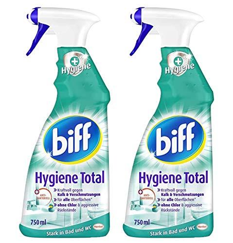 Biff Hygiene Total Badreiniger (für alle Oberflächen) 2er Pack (2 x 750 ml Sprühflasche)