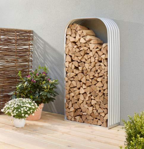 Estate to Garden Galvanised metal wood Store (180cm x 105cm x 45cm, Cream) Vertical