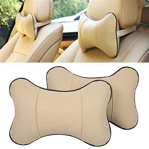 DUBENS 2 Stück PU Leder Auto Nackenkissen, Autositz Kopfstütze Kissen, Hals Atmungsaktiv Kopf Entspannen Gemütlich Weich Kissen (Beige)