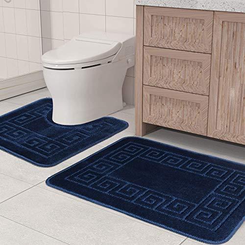 Pauwer Badematten set 2 Teilig Rutschfeste Badematten und WC Vorleger Waschbar Badteppich für Badezimmer (Marine)