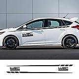 NsbsXs Autoaufkleber, Für Ford Focus 2 3 1 MK2 MK3 MK1 Karosseriedekor 2PCS Auto WRC Aufkleber Tür Seite Taille Linie Streifen Rock Vinyl Aufkleber