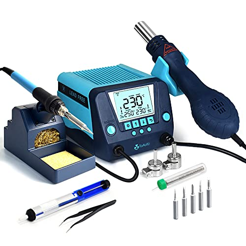 TOAUTO DS882 Soldering Station, 2 in 1 Soldering Iron Hot Air Gun Rework Station Kit with LCD Display,°F /°C, Cool/Hot Air Conversion, Auto Standby & Sleep, Temperature Memory & Lock & Correction
