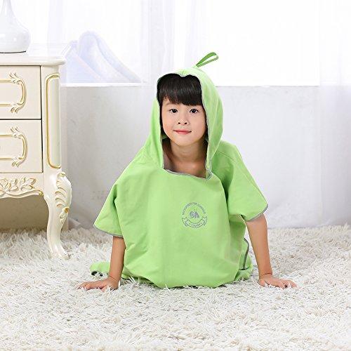Jian Ya Na Traje de neopreno de microfibra para surf, playa, capa de buceo, secado rápido, toalla cambiante, bata de baño, poncho con capucha, talla única (verde (niños))