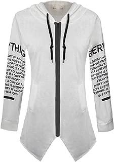 RkBaoye Women's Hoodie Long-Sleeve Asymmetrical Hem Patterned Outwear Jacket