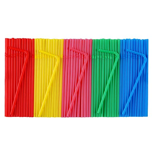 500 Pcs Colorful Disposable Plastic Flexible Straws.(0.23'' diameter and 7.7
