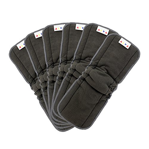 AlVABABY Charcoal Bamboo Inserts with Gussets Cloth Diaper Liner ,5-Layer Reusable Liners for Baby Cloth Diapers 6PCS 6FLN