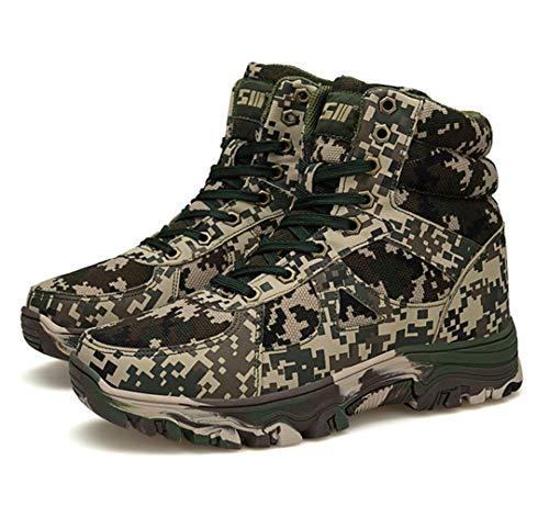 TH&Meoostny Hombres Invierno con Cordones de Excursionismo Caza Zapatos de Trekking Antideslizante algodón Zapatos cálidos Camuflaje Botas de Nieve del ejército táctico Camouflage Green 4