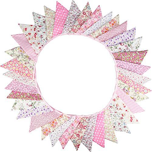 G2PLUS Süße Beidseitig Wimpel Girlande, 10M Bunting Wimpelkette Rosa Stoff Stoffgirlande mit 36 STK Farbenfroh Wimpeln für Hochzeits Geburtstag Party