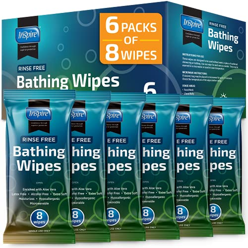 Rinse Free Body Wash Wipes | Bathing Wipes, Shower Wipes - Rinse Free Wet Wipes | Strong Extra Large With Aloe, Wipes For Adults, Body Wipes For Adults Bathing | Cleansing Adult Wipes Washcloths