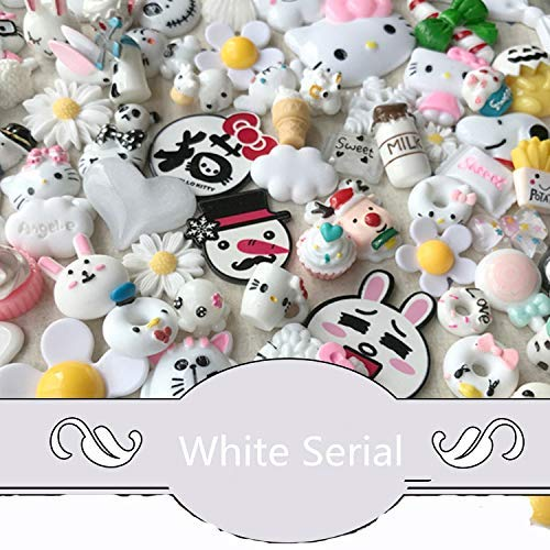 AMOBESTER 50PSC Mixed Shapes Flatback Button Resin Cabochons DIY Craft Embellishments Snow White Serial