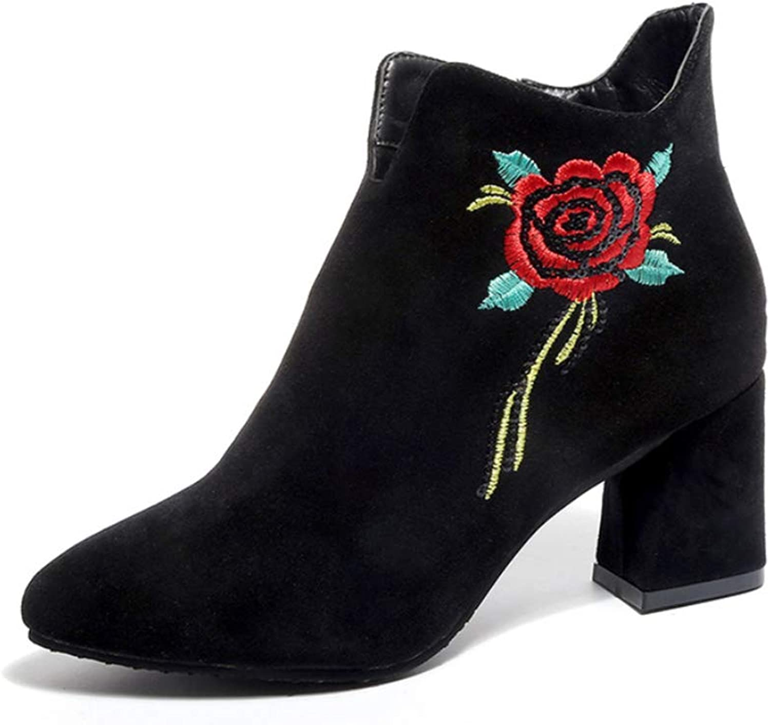 Women Boots Scrub Pointed Thick with Martin Boots Side Zipper pink Fashion Casual Boots