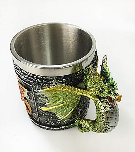 Copa medieval Taza creativa de la cerveza del dragón creativo medieval, taza de cerveza de acero inoxidable del dragón de la resina estéreo 3d, decoración del partido del tema, taza de cerveza mítica