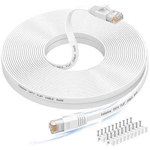 50 ft Ethernet Cable, Cat6e/Cat6 Long Ethernet Cable with Snagless Rj45 Connector, High Speed Patch Cord Than Cat 5e/Cat 5, Flat White Shielded LAN Cable for Ethernet Network Switch, PS4 and Modem