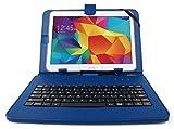 DURAGADGET - Estuche y teclado AZERTY (francés) integrado para tabletas Samsung Galaxy Tab 4 10,1', SM-T530 y SM-T533 (Wi-Fi). Aspecto de cuero, incluye bolígrafo táctil