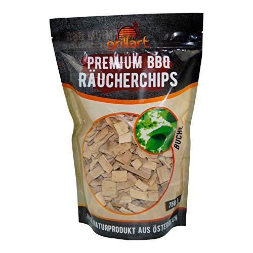 grillart® XL Premium Räucherchips Buche für das besondere Raucharoma - sehr rauchaktives Räucherholz/Holzhackschnitzel - Natürliches Alpenholz- 750g