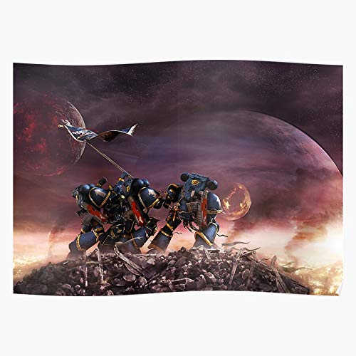 40K Art Warhammer Space Ultra Marines Marine Fan War Fantasy SciFi Battle | Home Decor Wall Art Print Poster