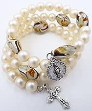 Five Decade Rosary Bracelet - Glass Pearl Catholic Rosary Beads