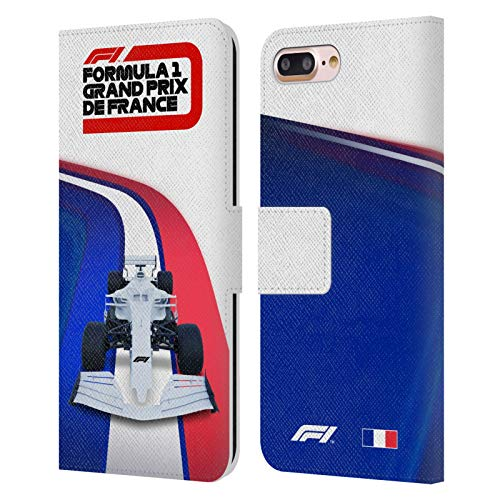 Head Case Designs Licenciado Oficialmente Formula 1 F1 France Grand Prix World Championship Carcasa de Cuero Tipo Libro Compatible con Apple iPhone 7 Plus/iPhone 8 Plus