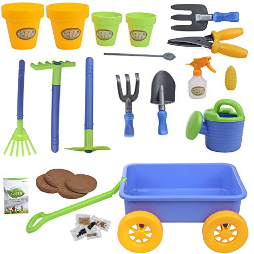 IQ Toys Budding Gardener Wagon and Tool Set for Kids 16 Pieces with Soil, Gardening Seeds, Water Pail, Planting Pots, Rake and More Accessories