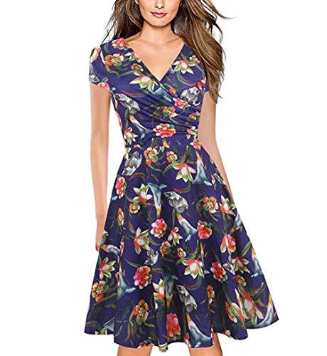 Vestidos Elegantes Floral Morado Niña Mujer Verano, Boho Chic Vestidos Tallas Grandes,Sexy Cuello en V Vestidos, hasta la Rodilla Plisado Vestido Coctel, Fiesta,Casual