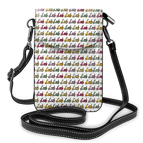 Women Small Cell Phone Purse Crossbody,Cartoon Style Scooters With Seatbacks And Round Mirrors Showing Off In Parade