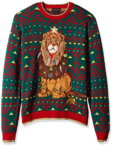 Blizzard Bay Men's Ugly Christmas Sweater Cat, Green, Large