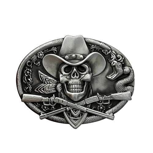 QUKE Western Cowboy Ghost Skeleton Skull with Rifles Guns Belt Buckle Silver Enamel