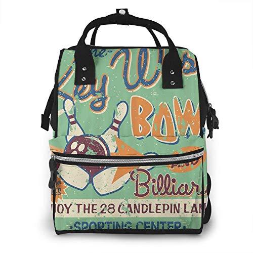 nbvncvbnbv Baby Wickeltasche Bowling Night Rucksack Wasserdichte Multifunktions-Reisetasche Tragetaschen Kapazität Kreatives Modedesign Paket Tagesrucksäcke