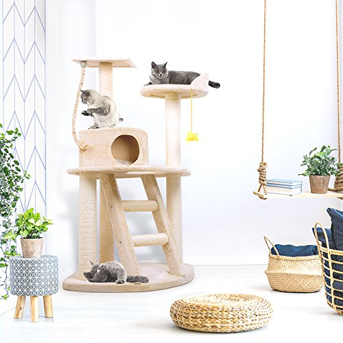 BEAU JARDIN Cat Tree Condo Furniture with Scratching Posts 47.5 Inch Cat Activity Tree Heavy Duty Corner Cat Tower Pet House Scratcher Multi-level Kitty Play House for Kitten with Perch Play Toy Beige
