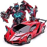 Poooc Transformers RC Car 1:16 Robot Transform 2.4GHz Car para niños con luces de trabajo Controlado por radio en la carretera Transformers rápidos Robots Cars Buenos regalos para niños, rojo