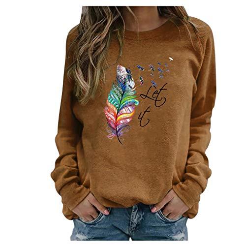SoeHir Women Casual Printing Long Sleeve Sweatshirt Pullover Shirts Top Blouse Brown