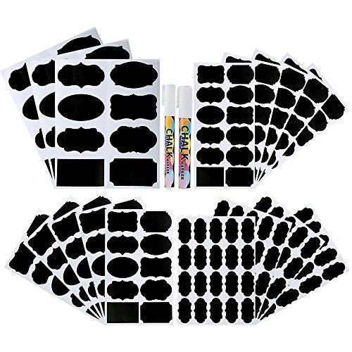 Pllieay 214 piezas 4 tamaños etiquetas de pizarra impermeable reutilizable etiquetas de pizarra con 2 piezas marcadores de tiza para decorar tarros, despensa, hogar y oficina