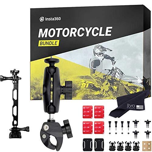Insta360 Motocycle bundle progettato per ONE X2, ONE R, GO 2, ONE X, ONE composto da attacco per manubrio, casco e parafango superiore, nero