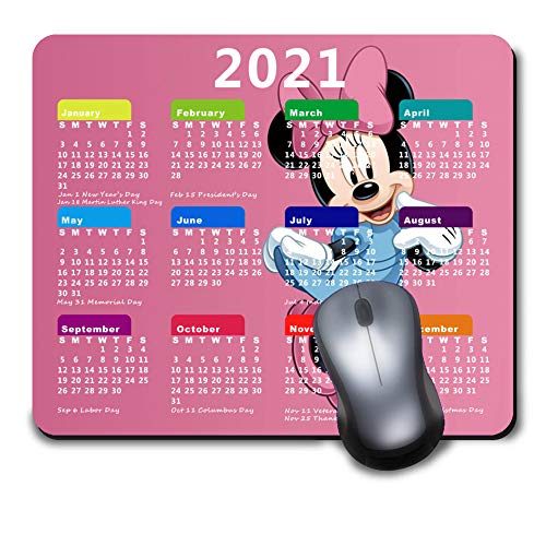 2021 Calendar Mouse Pad with Holidays,Gaming Mousepad with Non-Slip Rubber Base for Gift,Disney Minnie Mouse Pink Game and Office Mouse Mat