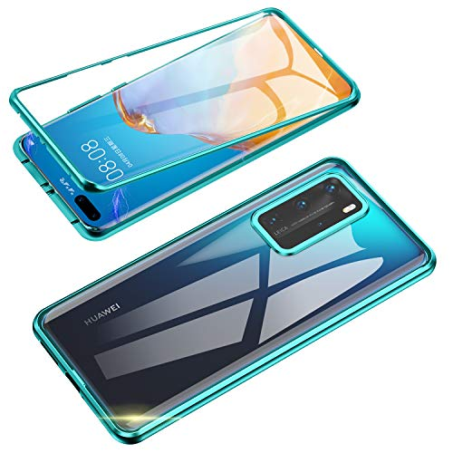 Compatible with Huawei P40 Pro (6.58 inch) Case, Jonwelsy 360 Degree Front and Back Transparent Tempered Glass Cover, Strong Magnetic Adsorption Technology Metal Bumper for Huawei P40 Pro (Green)