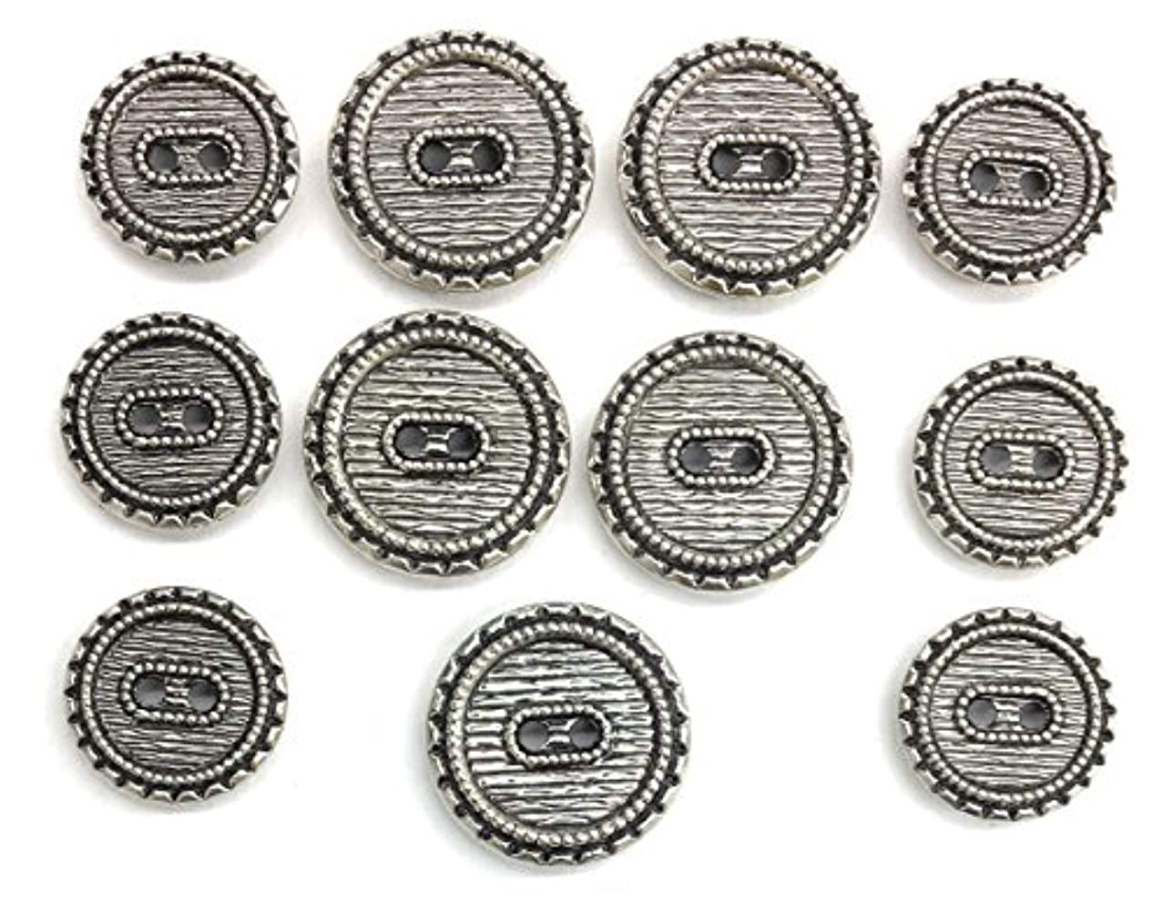 Silver Buttons SET Tailored Antiqued Blacken for Dress and Suits 11pc.