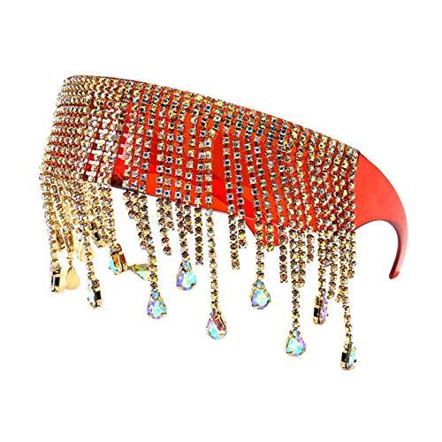 Sharplace Gafas de Sol de Diamante de Moda para Mujer, Cristales de Borla, Colgante, con Visera, Steampunk, Gafas Punk - Rojo