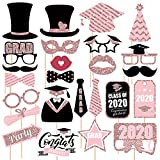 Whaline 26Pcs Rose Gold Graduation Photo Booth Props with Glue Points and Bamboo Sticks, 2021 Congrats Grad Photo Prop Pose Sign, Class of 2021 Graduation Party Supplies Photography DIY Game