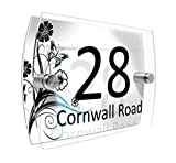 Personalised House Number Sign Printed Plaque Garden Glass Effect Acrylic Sign Door Plate Marble Wall Display 2 Part Acrylic (Colourful summer flowers in blue and black)