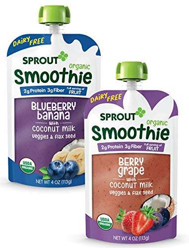 Sprout Organic Baby Food, Stage 4 Toddler Smoothie Pouches, Blueberry Banana & Berry with Coconut Milk Variety Pack, 4 Oz Purees (Pack of 12)