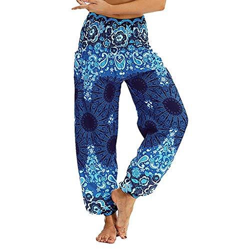Kneris Harem - Pantalones de Yoga para Mujer, Estilo Bohemio, Holgados Azul Azul M