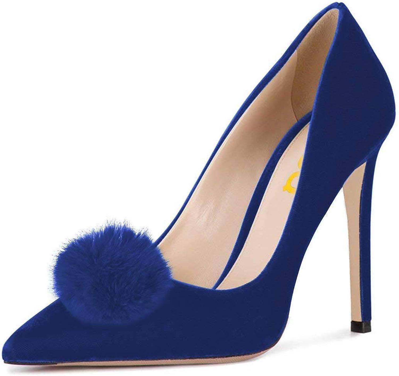 FSJ Women Fashion Stiletto Heels Pointy Toe Pumps Velvet Fluffy Pom Pom Slide Dress shoes Size 4-15 US