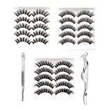 15Pairs 3Styles False Eyelashes 3D Handmade Fake Eyelashes, 3D Fake Lashes with Natural Round Look, Synthetic Fiber Material Cruelty-Free Reusable False Lashes with Eyelash Applicator
