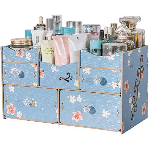 Coffres de rangement Creative cosmétiques boîte de Rangement tiroir Coiffeuse Bijoux Finition boîte débris Bureau Rangement boîte Couleur Maquillage boîte Rack (Color : Blue, Size : 35 * 19 * 22cm)
